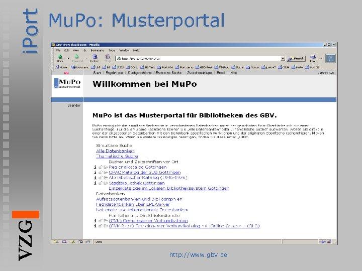 i. Port VZG Mu. Po: Musterportal http: //www. gbv. de
