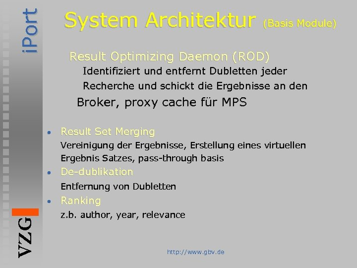 i. Port System Architektur (Basis Module) Result Optimizing Daemon (ROD) Identifiziert und entfernt Dubletten