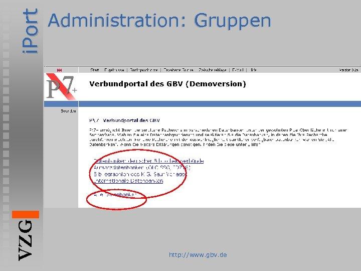 i. Port VZG Administration: Gruppen http: //www. gbv. de