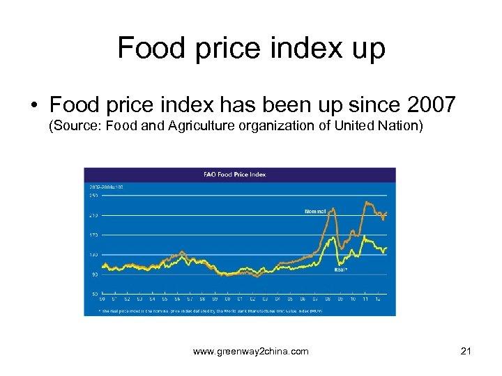 Food price index up • Food price index has been up since 2007 (Source: