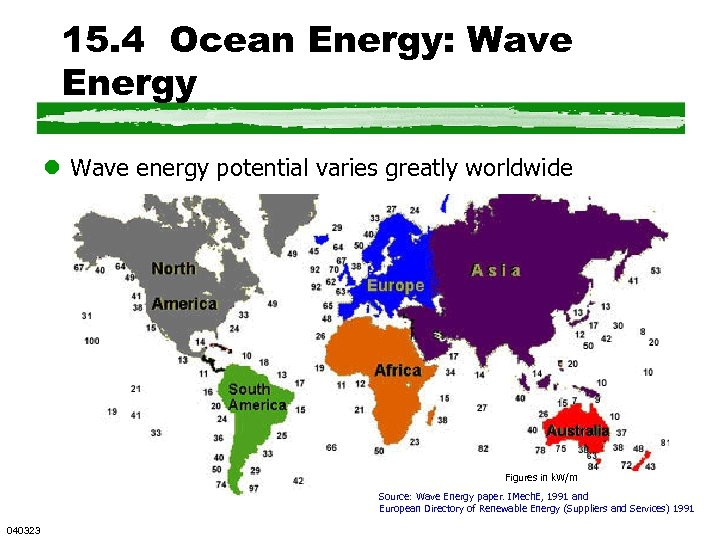 15. 4 Ocean Energy: Wave Energy l Wave energy potential varies greatly worldwide Figures