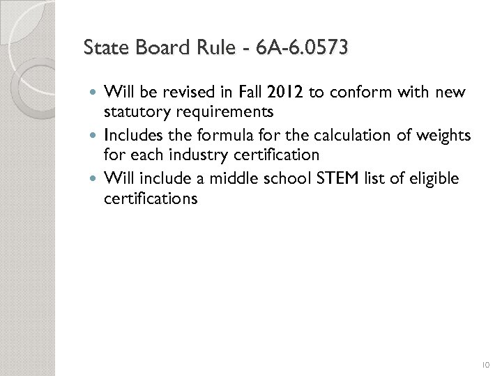 State Board Rule - 6 A-6. 0573 Will be revised in Fall 2012 to