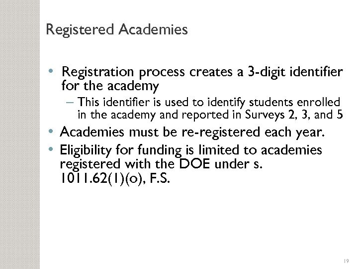 Registered Academies • Registration process creates a 3 -digit identifier for the academy –