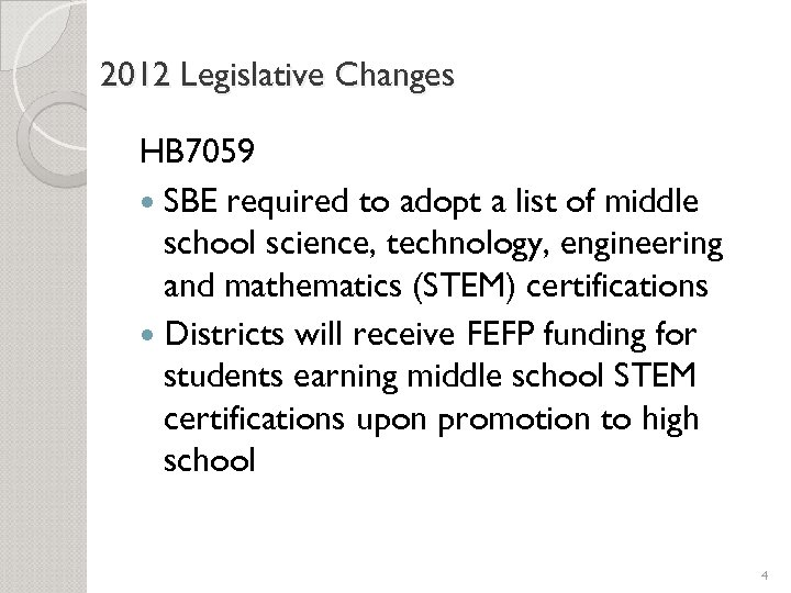 2012 Legislative Changes HB 7059 SBE required to adopt a list of middle school