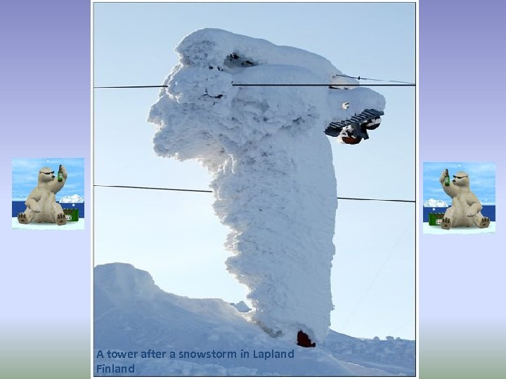 A tower after a snowstorm in Lapland Finland