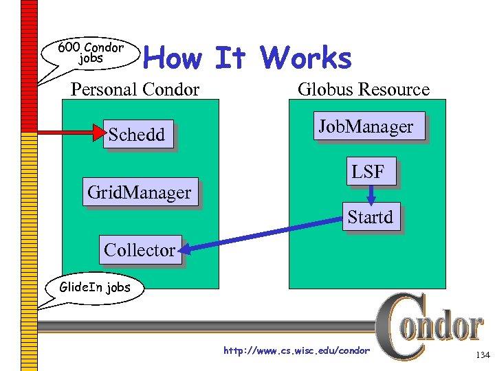 600 Condor jobs How It Works Personal Condor Globus Resource Schedd Job. Manager Grid.
