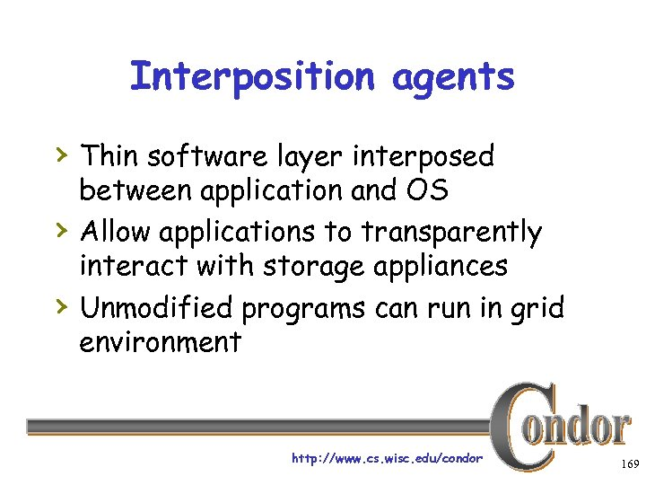 Interposition agents › Thin software layer interposed › › between application and OS Allow