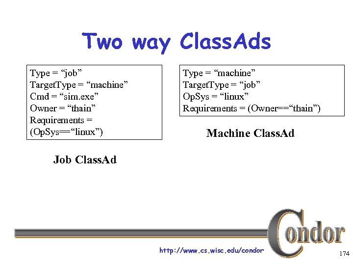 "Two way Class. Ads Type = ""job"" Target. Type = ""machine"" Cmd = ""sim."