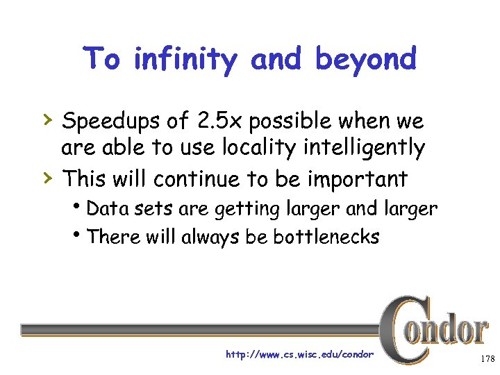 To infinity and beyond › Speedups of 2. 5 x possible when we ›
