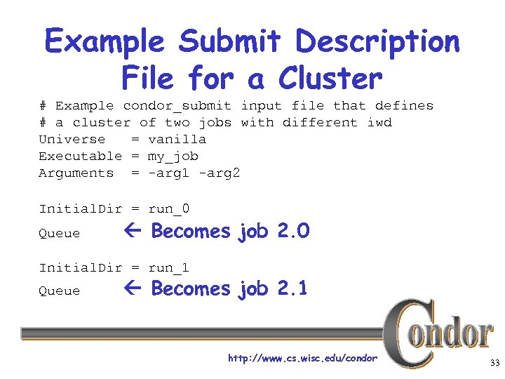 Example Submit Description File for a Cluster # Example condor_submit input file that defines