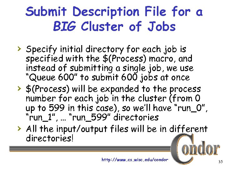 Submit Description File for a BIG Cluster of Jobs › Specify initial directory for