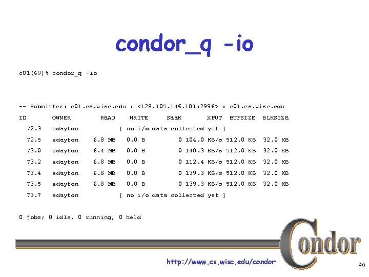 condor_q -io c 01(69)% condor_q -io -- Submitter: c 01. cs. wisc. edu :