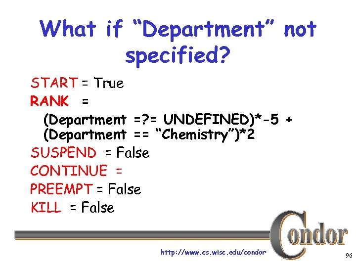 """What if """"Department"""" not specified? START = True RANK = (Department =? = UNDEFINED)*-5"""