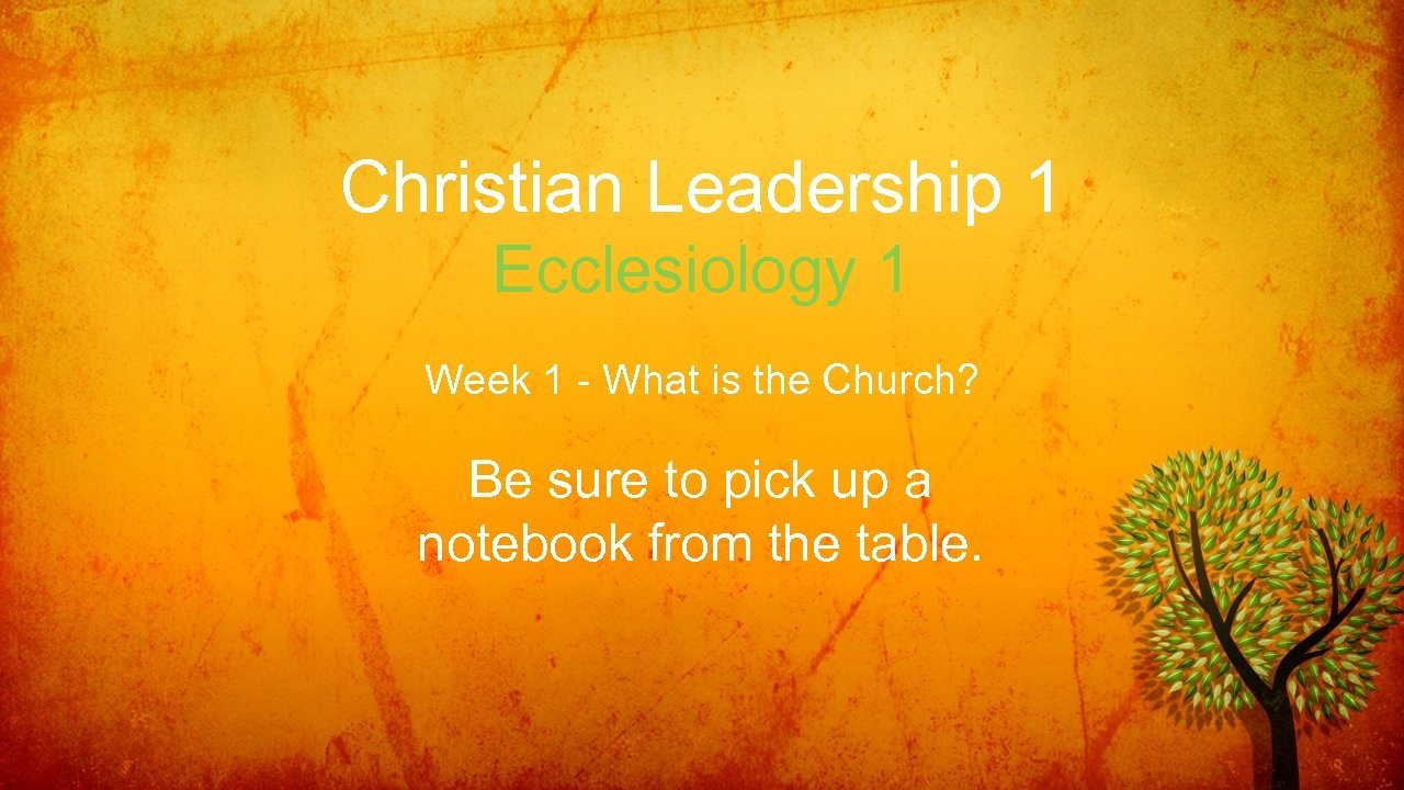 Christian Leadership 1 Ecclesiology 1 Week 1 - What is the Church? Be sure