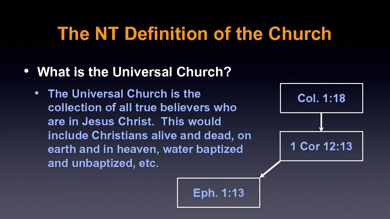 The NT Definition of the Church • What is the Universal Church? • The