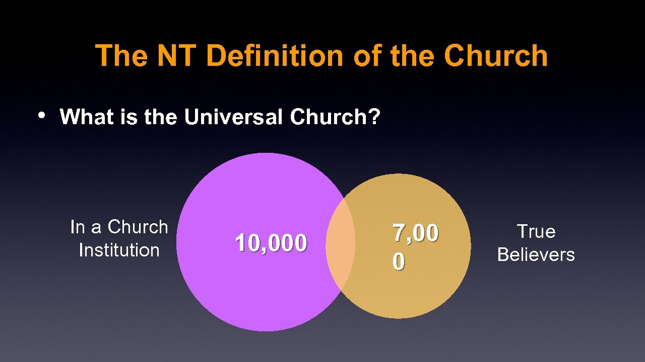 The NT Definition of the Church • What is the Universal Church? In a