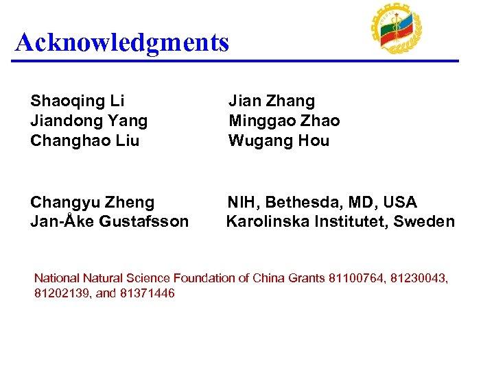 Acknowledgments Shaoqing Li Jiandong Yang Changhao Liu Jian Zhang Minggao Zhao Wugang Hou Changyu