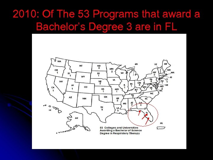 2010: Of The 53 Programs that award a Bachelor's Degree 3 are in FL