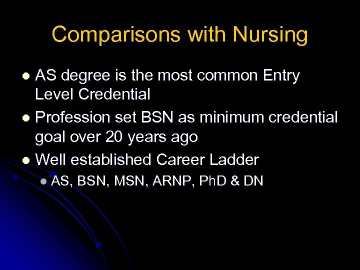 Comparisons with Nursing AS degree is the most common Entry Level Credential l Profession