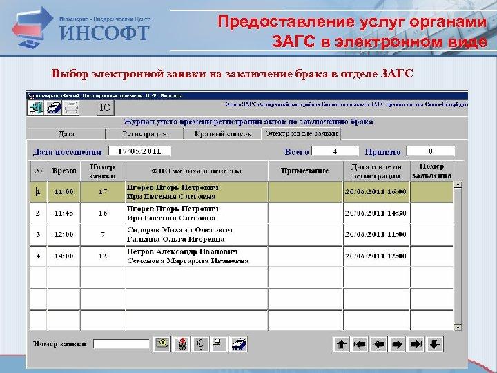 Предоставление услуг органами ЗАГС в электронном виде Выбор электронной заявки на заключение брака в