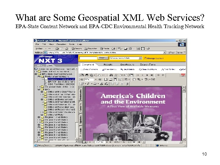 What are Some Geospatial XML Web Services? EPA-State Content Network and EPA-CDC Environmental Health
