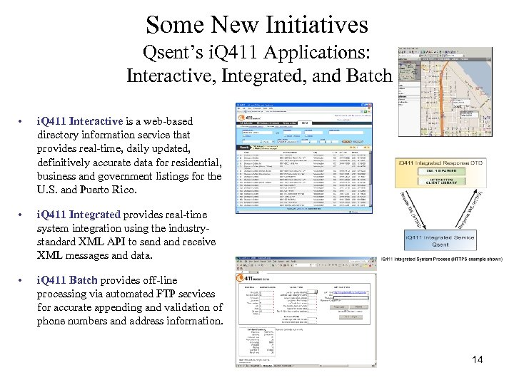 Some New Initiatives Qsent's i. Q 411 Applications: Interactive, Integrated, and Batch • i.