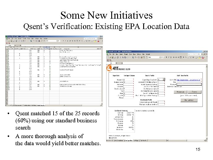 Some New Initiatives Qsent's Verification: Existing EPA Location Data • Qsent matched 15 of