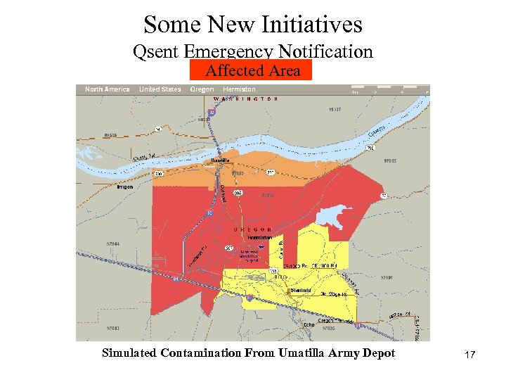 Some New Initiatives Qsent Emergency Notification Affected Area Simulated Contamination From Umatilla Army Depot