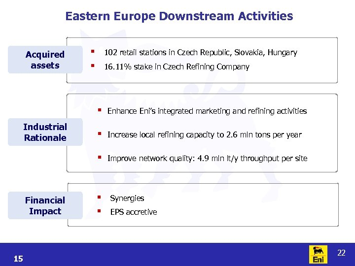 Eastern Europe Downstream Activities Acquired assets § § 102 retail stations in Czech Republic,