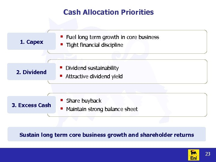Cash Allocation Priorities 1. Capex § § Fuel long term growth in core business