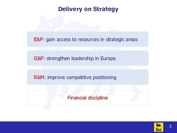 Delivery on Strategy E&P: gain access to resources in strategic areas G&P: strengthen leadership