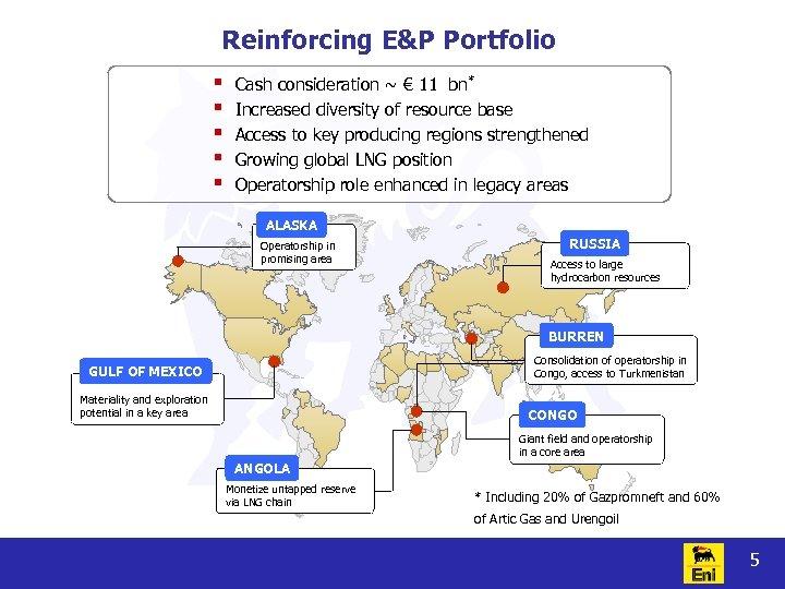Reinforcing E&P Portfolio § § § Cash consideration ~ € 11 bn* Increased diversity