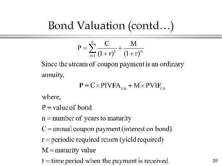Bond Valuation (contd…) 25