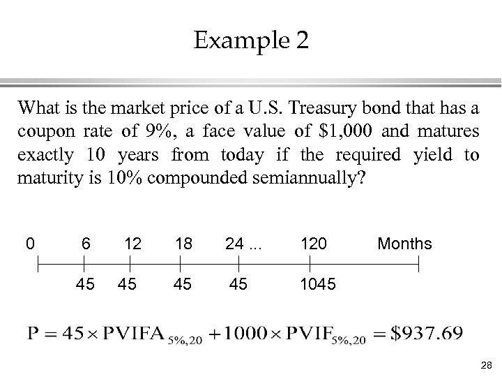 Example 2 What is the market price of a U. S. Treasury bond that