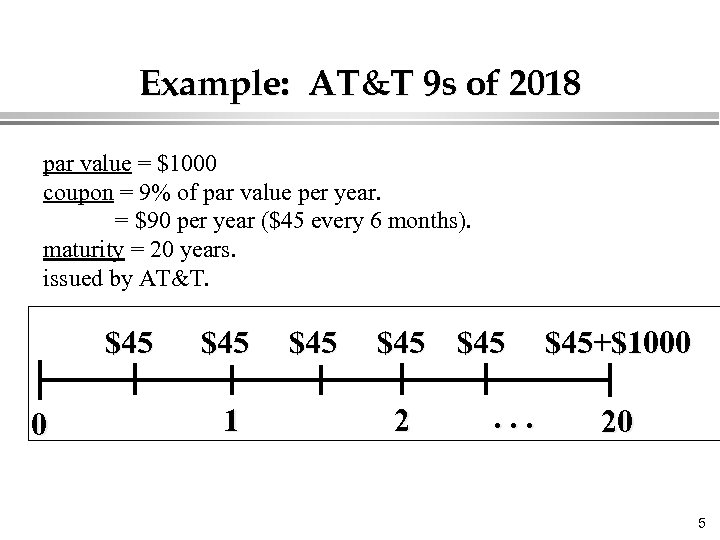 Example: AT&T 9 s of 2018 par value = $1000 coupon = 9% of