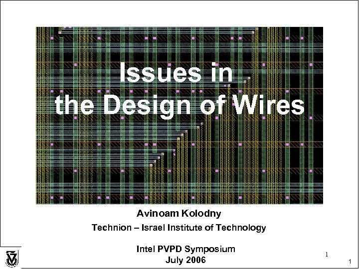 Issues in the Design of Wires Avinoam Kolodny Technion – Israel Institute of Technology