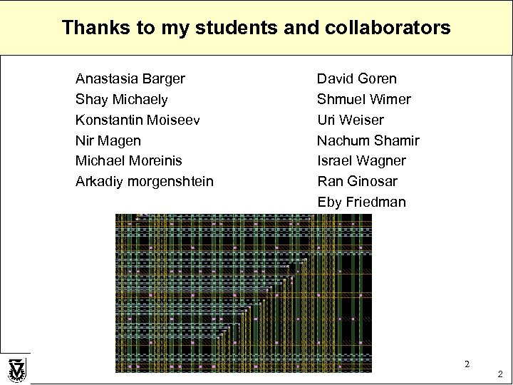 Thanks to my students and collaborators Anastasia Barger Shay Michaely Konstantin Moiseev Nir Magen