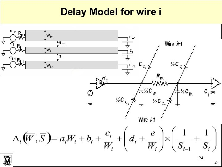 Delay Model for wire i 24 24