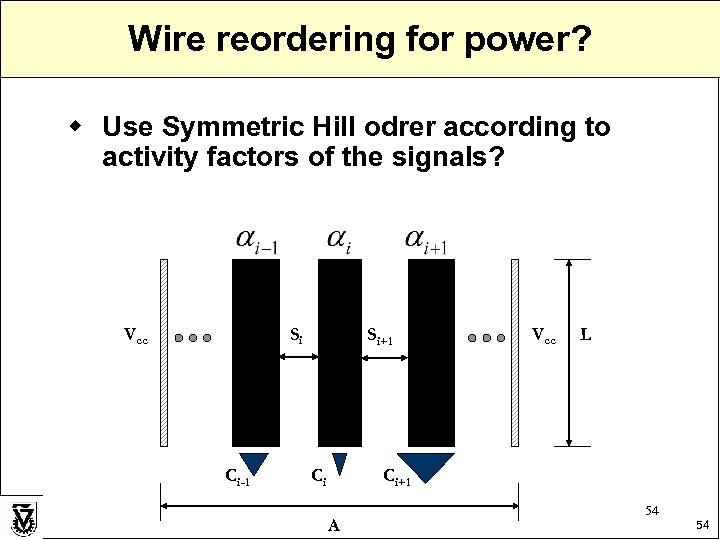 Wire reordering for power? w Use Symmetric Hill odrer according to activity factors of