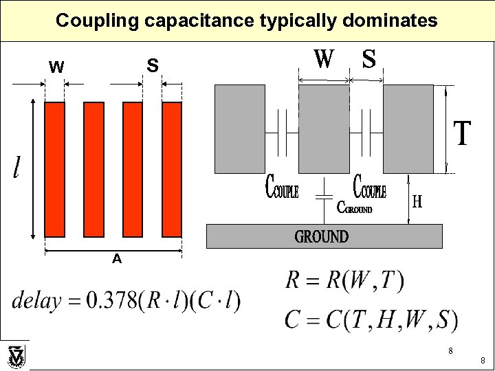Coupling capacitance typically dominates S W A 8 8