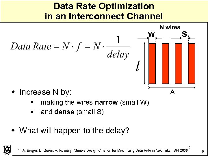 Data Rate Optimization in an Interconnect Channel N wires W w Increase N by: