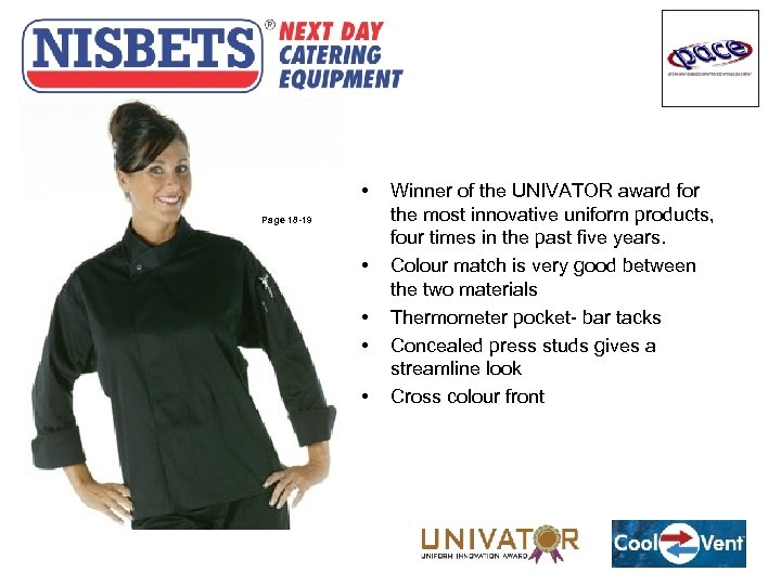 Cool Vent Jackets • Page 18 -19 • • Winner of the UNIVATOR award