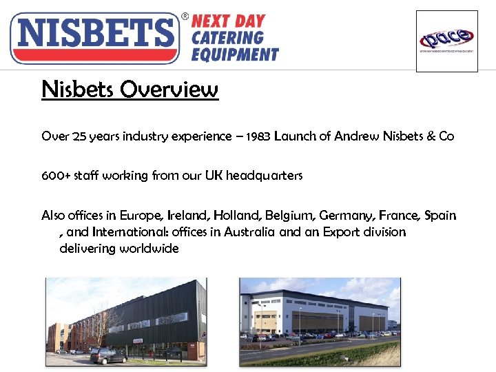 Nisbets Overview Over 25 years industry experience – 1983 Launch of Andrew Nisbets &