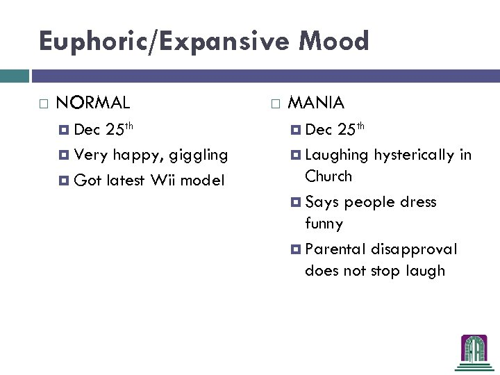 Euphoric/Expansive Mood NORMAL 25 th Very happy, giggling Got latest Wii model Dec MANIA
