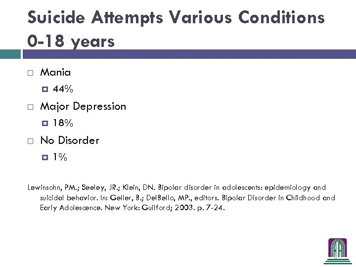 Suicide Attempts Various Conditions 0 -18 years Mania Major Depression 44% 18% No Disorder