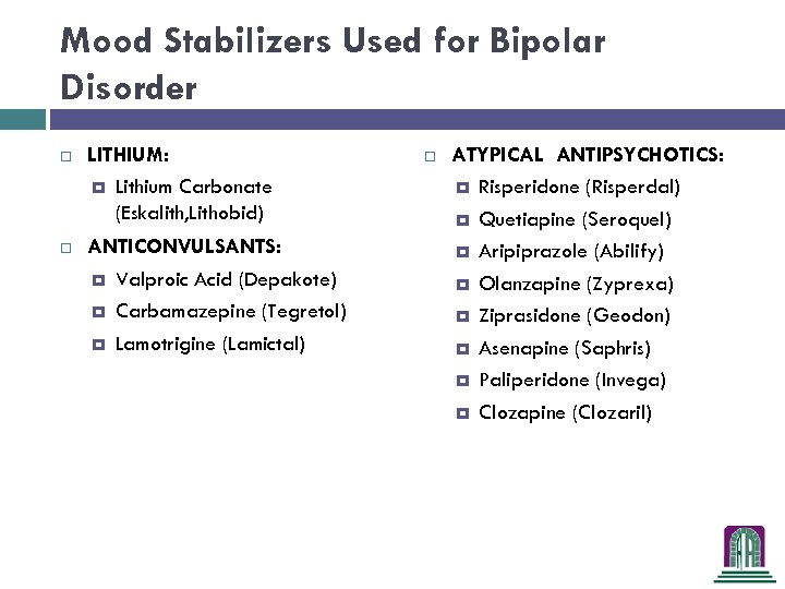 Mood Stabilizers Used for Bipolar Disorder LITHIUM: Lithium Carbonate (Eskalith, Lithobid) ANTICONVULSANTS: Valproic Acid