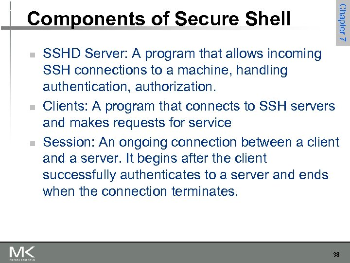 n n n Chapter 7 Components of Secure Shell SSHD Server: A program that