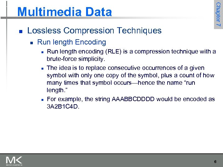 n Lossless Compression Techniques n Chapter 7 Multimedia Data Run length Encoding n n