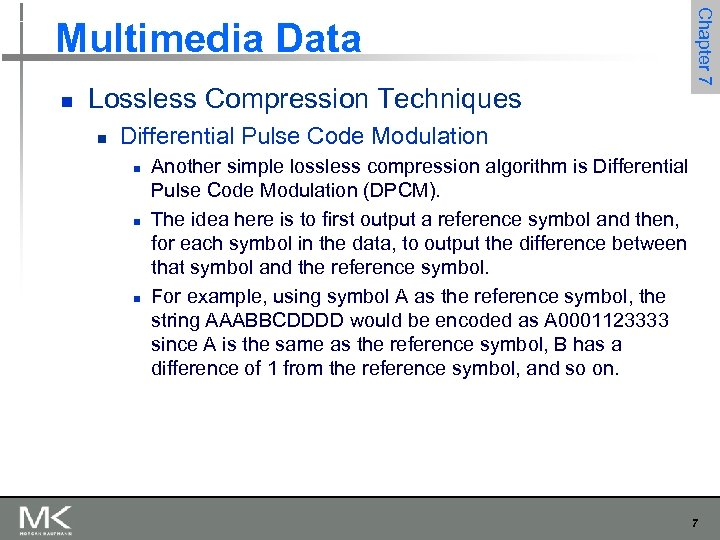 Chapter 7 Multimedia Data n Lossless Compression Techniques n Differential Pulse Code Modulation n