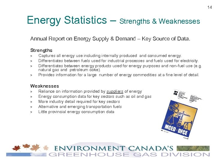 14 Energy Statistics – Strengths & Weaknesses Annual Report on Energy Supply & Demand